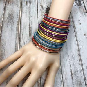Jewelry - Bright colorful thin metal bangle set